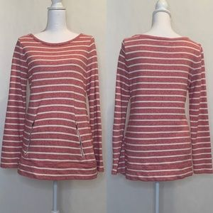 LOFT Red and White Striped Tunic Medium